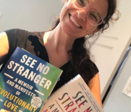 Rabbi Sharon Brous with See No Stranger book